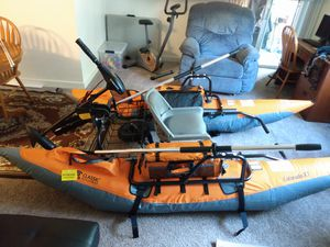 Fishing pontoon with electric trolling motor for Sale in Vancouver, WA