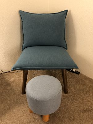 Blue Cushion Chair and Footstool for Sale in Olympia, WA