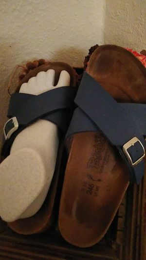 Birkenstocks....blue leather sandals..38/7.....,................ shipping will show when you accept offer. for Sale in Yuma, AZ