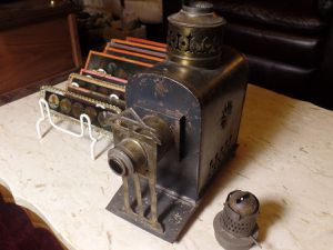 Antique Victorian Tin Plate Candle Powered Magic Lantern Projector & Image Slides for Sale in Gilbert, AZ