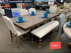 •Regent grayish brown dining room set • table chairs bench • delivery and financing available.. brand new. No credit needed for Sale in Katy, TX