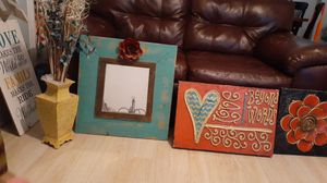 3 pictures and a yellow vase withake flowers for Sale in Abilene, TX