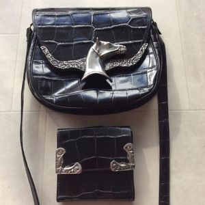 Glen Miller for Trina Turk Vintage West Horsehead Bag & Wallet Crocodile Leather with Heavy Silver Metal Accents Crossbody purse and Matching Wallet for Sale in Tucson, AZ