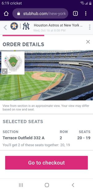 Yankee tickets two for Sale in Baldwin, NY