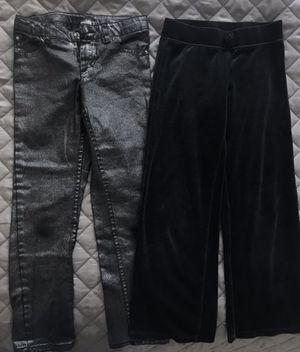 Circo Girls Black velour velvet track pants and Black Silver Finish Skinny Jeans Size 7-8 for Sale in Alexandria, VA