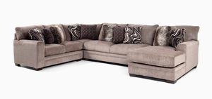 Luxe Gray 4 Piece Left Arm Facing Sectional with Chaise for Sale in Justice, IL