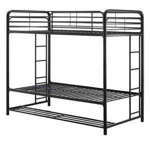 NEW Black Twin Over Twin Metal Bunk Bed with Storage Bins for Sale in Las Vegas, NV