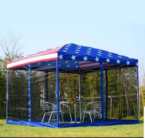 10' x 10' Flag Canopy Gazebo Tent Party Shelter Garden Outdoor Pop Up Easy Set Up for Sale in Carson, CA