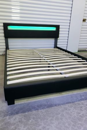NEW IN BOX queen upholstered bed frame, mattress sold separately for Sale in Palm Springs, FL