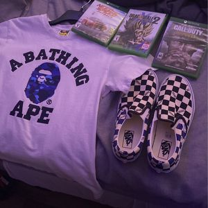 bape tee tagged M fits small vans size 8 for Sale in Las Vegas, NV