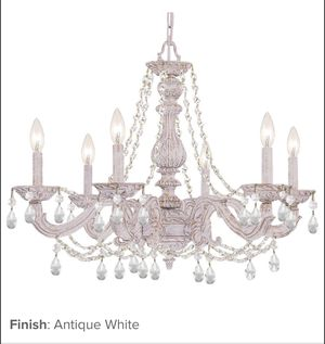 "Antique White Paris Market 6 Light 28"" Wide Chandelier with Clear Hand Cut Crystals for Sale in Salt Lake City, UT"