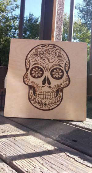 Handmade Wood Burned Sugar Skull for Sale in Colorado Springs, CO