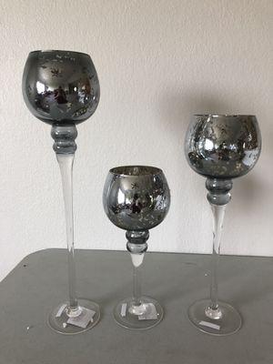 Set of 3 glass stem vases for Sale in Leander, TX