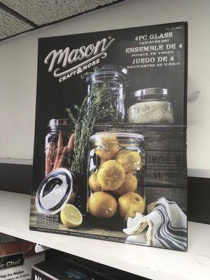 Glass Canister Set 3Pcs Juego de Recipientes de Vidrio 3 Piezas Mason Crafts & More for Sale in Miami, FL