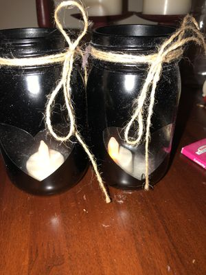 Set of black mason jars w/ hearts & Flameless candles for Sale in Lake Stevens, WA