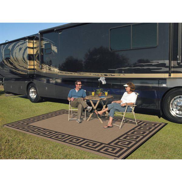 9' x 12' Reversible RV Camping Mat Indoor Outdoor Rug Greek Key