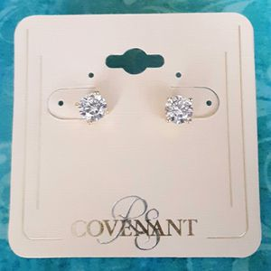 Shipping Only: New Covenant goldtone cubic zirconia hypo-allergenic earrings for Sale in Fullerton, CA
