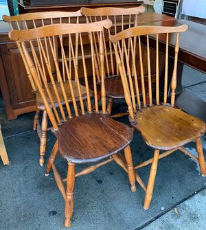 """100872 Set of 4 Vintage Wooden Dining Chairs Each One Slightly Different 16"""" Floor to Seat for Sale in San Francisco, CA"""