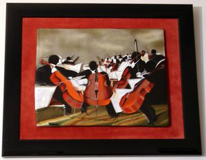Orchester , H 15 W 18, exceptional original glass painting by Georgies for Sale in Sun Lakes, AZ