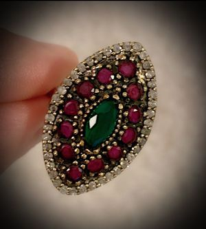 EMERALD RUBY FINE ART RING Size 9 Solid 925 Sterling Silver/Gold WOW! Brilliantly Faceted Marquise/Round Cut Gems, Diamond Topaz M4660 V for Sale in San Diego, CA