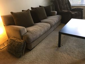 Moving sale …. Couch, table, entertainment tv stand, bookshelf and patio furniture for Sale in Dublin, CA