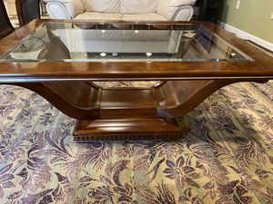 Solid Mahogany Wood Glass Coffee Table for Sale in Springfield, VA
