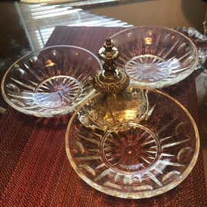 Vtg Princess House Regency Silverplate Handle 3 Glass Bowls Trio Serving Set 450 for Sale in Clearwater, FL