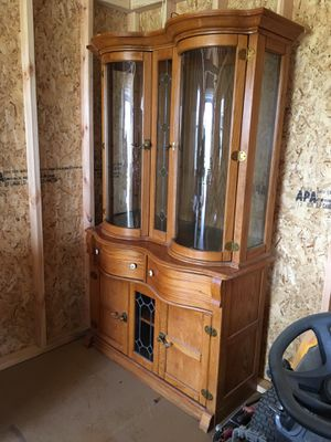 Very unique Oak display Cabinet with curved doors for Sale in Albertson, NC