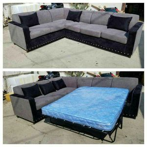 NEW 7X9FT CHARCOAL MICROFIBER COMBO SECTIONAL WITH SLEEPER COUCHES for Sale in Victorville, CA