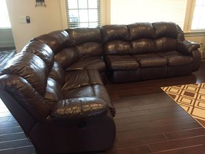 Top grain leather burgundy sectional sofa for Sale in Brentwood, TN