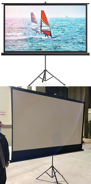 "NEW IN BOX 100"" inch 87x48 inches Projector Screen Size Outdoor Portable Adjustable Stand 16:9 Indoor Home Movie Theater Retractable for Sale in Los Angeles, CA"