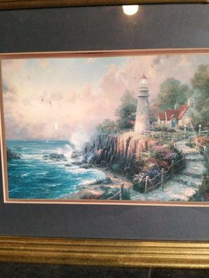 Thomas Kinkade LIGHT HOUSE PICTURE with gold frame for Sale in Port Neches, TX
