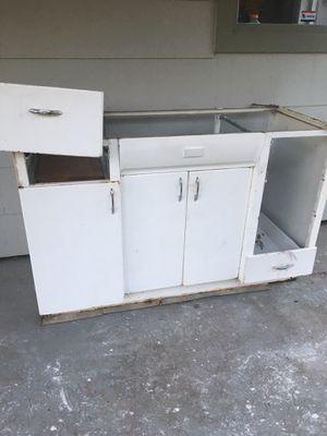Vintage metal sink cabinet + 2 upper for Sale in Portland, OR