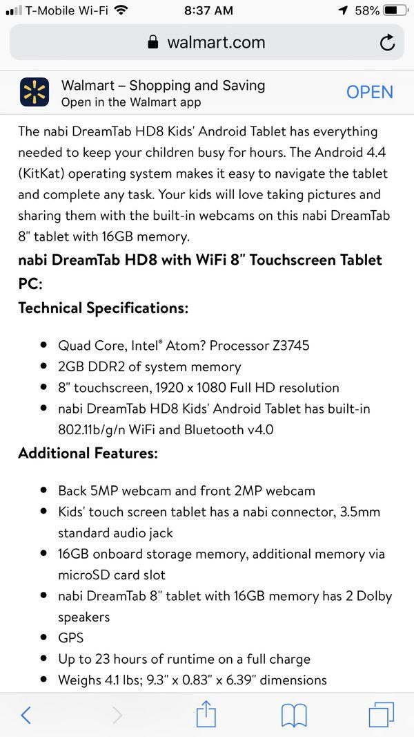 Nabi Dream Tablet for Sale in Dallas, TX - OfferUp