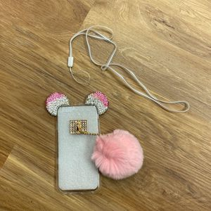 Apple Iphone 6/6s Clear Silicon Case with Pink/Diamond Beading And Pink Puff for Sale in Columbia, SC