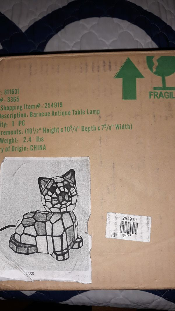 Tiffany Style Stained Glass Cat Lamp