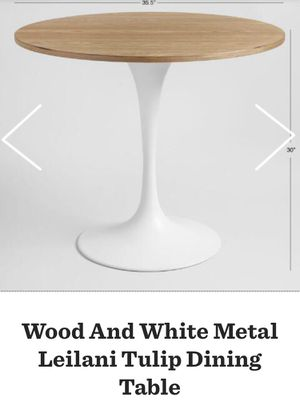 Wood and White Metal Dining Table for Sale in New York, NY