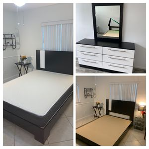New queen 4 pieces bedroom set. Bed frame , mattress , dresser and mirror . FREE DELIVERY AND INSTALLATION for Sale in Hollywood, FL