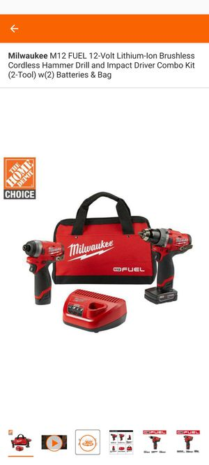 Milwaukee M12 FUEL 12-Volt Lithium-Ion Brushless Cordless Hammer Drill and Impact Driver Combo Kit (2-Tool) w(2) Batteries & Bag for Sale in Melrose Park, IL