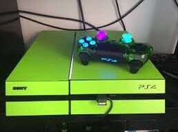 Green costum ps4 with green light up controller and 6 games for Sale in Adger, AL