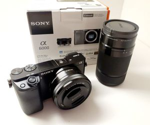 Sony a6000 24.3MP Mirrorless Digital Camera with 16-50mm OSS Lens + 55-210mm Lens for Sale in Miami, FL