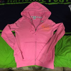 Victoria's Secret PINK hot pink and orange full zip hoodie for Sale in Port St. Lucie, FL