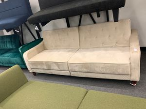 Beige Velvet Futon for Sale in Houston, TX