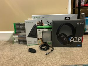Xbox One S 500GB, 1 controller, 16 games, Xbox stand, 2TB external hard drive, Astro A10 headset, Xbox headset adapter and USB to Micro USB cable for Sale in Alexandria, VA