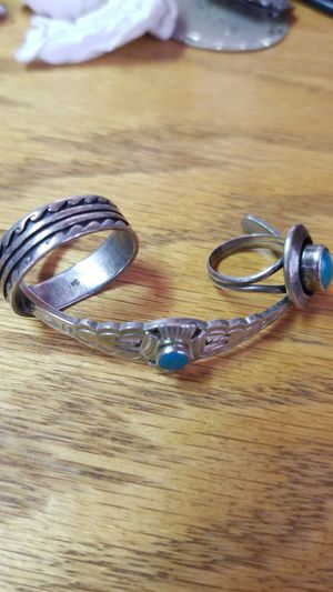 Native sterling bracelet and rings for Sale in Chelan, WA