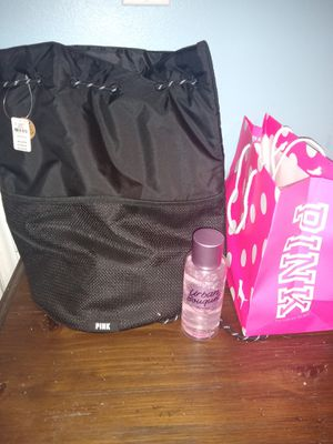 Pink drawstring backpack and urban bouquet body spray for Sale in Auburn, WA