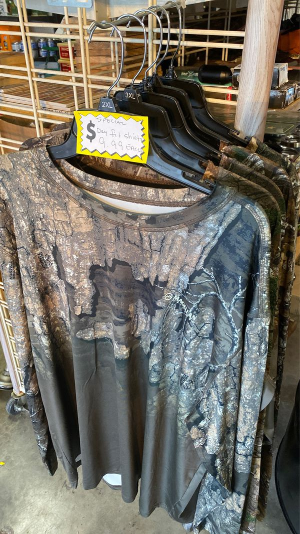 Camo dryfit double sided new shirts for sale. Only 9.99 each. In 2xand 3x left.