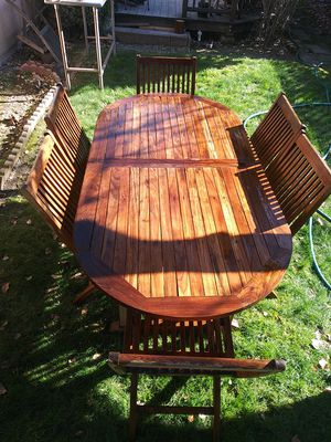 7 piece teak outdoor patio dining set, very good condition for Sale in Pleasant Hill, CA