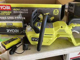 Ryobi 40 Volt Brushless Chainsaw No Battery , Charger Is Included 125 OBO for Sale in Plant City,  FL