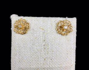 14KYG Filigree Diamond Studs Earrings for Sale in Auburn, WA